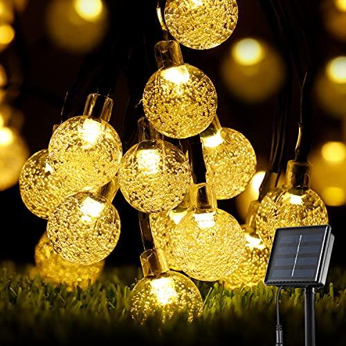 Solar Lichterkette Außen, OxyLED 60 LED Solar Garten Lichterkette Kristall Kugeln 8 Modi IP65 Wasserdicht Lichterkette Außenlichterkette Garten Lichterkette Beleuchtung für Partys, Warmweiß