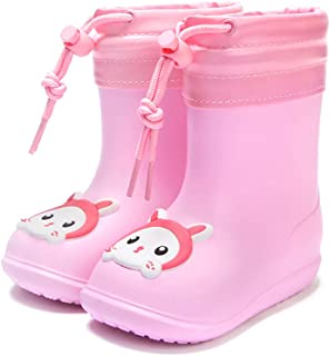 Nasogetch Kids Wellies Wellington Winter Rain Boots with Warm Lining for Girls and Boys Blue