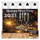 2021 Happy New Year Theme Photography Backdrops 7X5ft Champagne Toast Fireworks Happy New Year Eve Xmas Celebration Photo Background Baby Shower Birthday Family Photos Decor Prop Banner Vinyl