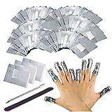 VOARGE Nail Polish Remover Wraps Pads, 200 unidades Nagellack Remover Aluminiumumfolie y 1 pieza Nagelhaut Schieber y 1 Nagelfeile tiras, Nagel Werkzeugset para eliminar fácilmente de Nagellack