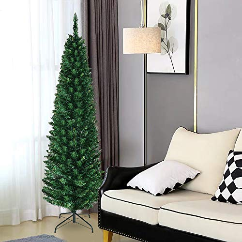 Cchainway 8ft Pencil Christmas Tree, 1000 Branch Tips, Premium PVC Needles, Unlit Artificial Slim Fir Christmas Tree w/Sturdy Metal Stand, Unlit Christmas Tree for Home,Office,Shops and Hotels(Green)