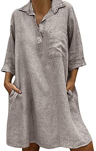 HX fashion Tunika sukienka midi letnie sukienki dla kobiet długa koszula wygodne rozmiary z kieszeniami szafa wiskoza koszulka dekolt w serek sukienka długość do kolan sukienka sukienka sukienka sukienka bluzka S 5XL