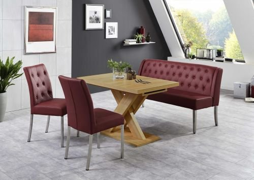 Moebelstore24 eetgroep Manchester tafel + zitbank + 2 stoelen rood honing eik decor