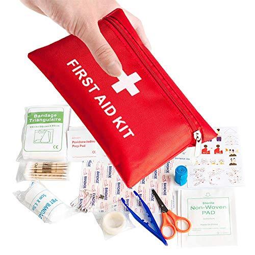 Rmeet Mini Borsa di Pronto Soccorso,Borsa di Pronto Soccorso Kit di Sopravvivenza per Emergenze 78 Pack Borsa per Traumi Medici Kit Include Compresse per Bendaggi Tamponi Guida per Viaggi Campeggio