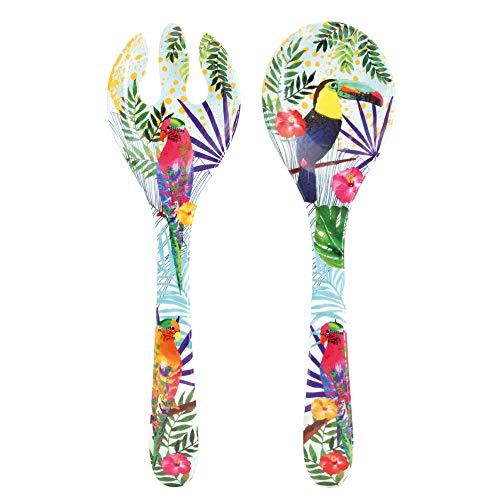 Les Jardins de la Comtesse – Couverts à salade en Mélamine Pure – Toucans de Rio – 33 cm – Multicolore - Service de Table de la Vaisselle Quasi-Incassable MelARTmine