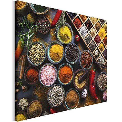 Revolio 50x40 cm Leinwandbild Wandbilder Wohnzimmer Modern Kunstdruck Design Wanddekoration Deko Bild auf Leinwand Bilder 1 Teilig - Gewürze Schüsseln bunt Mehrfarbig rot