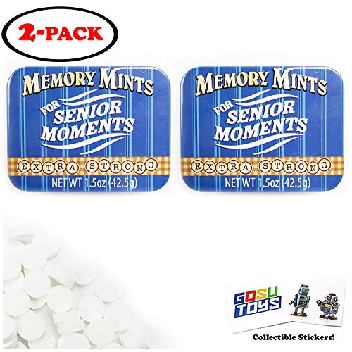 Memory Mints 2 Pack For Senior Moments Fun Gag Tin Extra Strong (Novelty Product) with 2 GosuToys Stickers