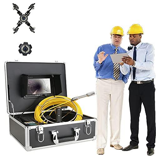 JJIIEE Cámara de Video inalámbrica Snake Monitor de 7', WiFi DVR inalámbrica IP68 HD 1000TVL Cámara de inspección de tuberías con Luces LED de 12 Piezas, Grabadora DVR Video en Vivo,50M/165FT