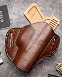 OutBags USA LP1MP (Brown-Right) Full Grain Heavy Leather OWB Open Carry Pancake, Side Carry Belt Holster for S&W Smith & Wesson M&P9, M&P22, M&P40, M&P45, M&P357 Full Size. Handcrafted in USA.