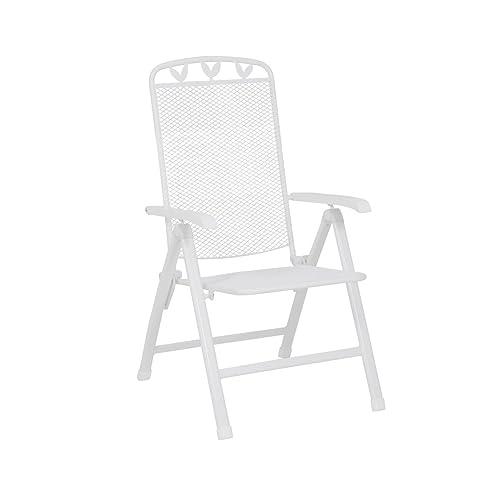 Greemotion Chaise De Jardin Toulouse En Acier Blanc Avec Dossier Haut Reglable 5 Niveaux