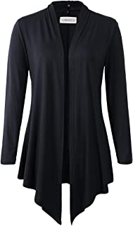 LARACE Women Open Front Cardigan Plus Size Drape Long Sleeve Lightweight Cardigans S-3X(3X, Black)