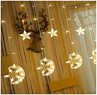DIY 138 LED Star Moon Curtain string Lights,Window Curtain Lights with 8 Flashing Modes Decoration Christmas Wedding,Party...