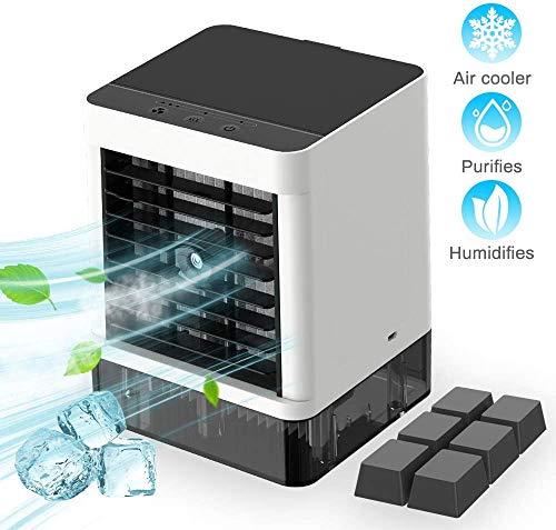 Mini Air Cooler Mini Luftkühler Cube Arctic, Mobile Klimageräte Tragbare Klimaanlage, 3 in1 Luftbefeuchter und Luftreiniger Büro Desktop-Luftkühler Mini-Ventilator für Zuhause, Küche, im Freien