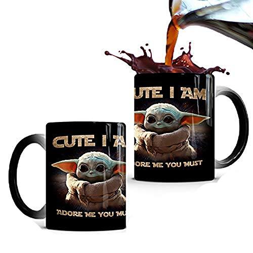 YUEFF Baby Yoda Magic Mug - Personalisierte Farbwechsel Tasse Kaffeebecher Mit Personalisierung - Becher Mit Name Thermoeffekt Farbwechsel Kaffeetasse Geschenkidee Zum Vatertag Oder Geburtstag,B