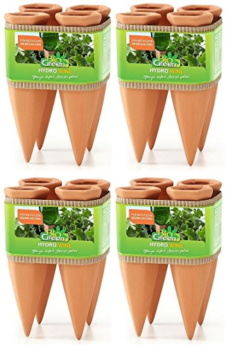 Bio Green Pflanzen Bewässerung Wine Tonkegel, Terracotta/grün - für Wein Flaschen, 4 x 4 Stück