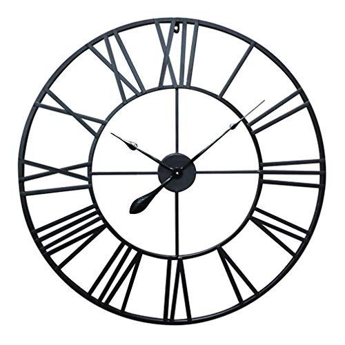 Antic by Casa Chic - Große Metall Wanduhr mit Quarz Uhrwerk - 76 cm Durchmesser - Römische Ziffern - Vintage Zeiger - Schwarz