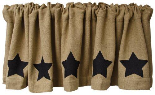 Black Star Burlap Window Curtain Valance Natural Tan Weave Country Primitive Home Décor