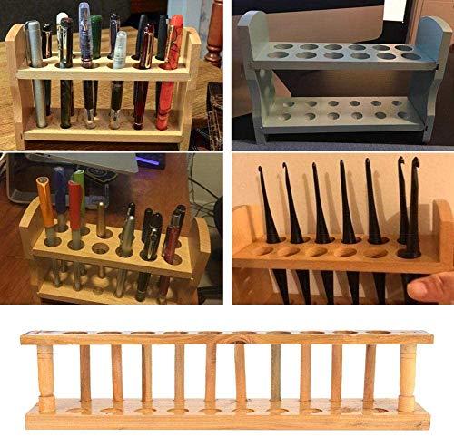 Bastidores de tubos de laboratorio, soporte de tubo de ensayo de madera de doble uso Herramienta de laboratorio químico para colocar tubos de ensayo de secado(10 Holes)
