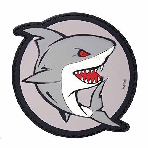 Emblem 3D PVC Angreifender Hai #17087 Rubber Patch Klett Abzeichen 8 x 8 cm