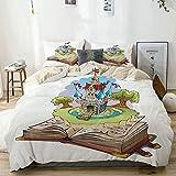 Juego de funda nórdica beige, Once Upon a Time Surreal Magic World in Fantasy Book Fairy Tale Style Castle Illustration, Juego de cama decorativo de 3 piezas con 2 fundas de almohada Easy Care Anti-Al