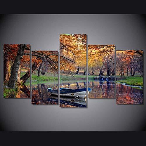 Myrdsio HD Impreso Otoño Parque Barco Pintura sobre Lienzo Decoración de la habitación Imprimir Imagen del Cartel
