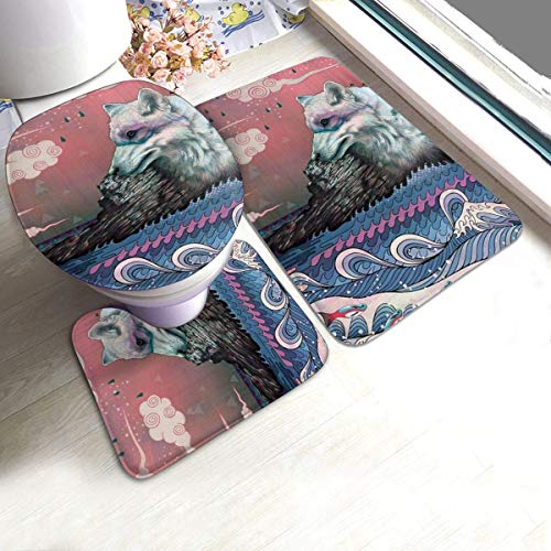 Taroot AA Badezimmerteppiche Sets 3 Stück Lone Wolf Seewolf Fisch Ozean Badematten Sets Teppiche für Badezimmer Waschbare U-förmige Kontur Teppichmatte und Deckelabdeckung