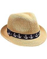 Silver Fever Stripped Panama Fedora Hat for Men or Women (M Tan Nautical)