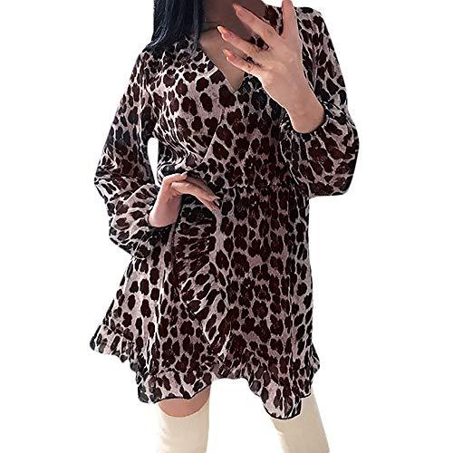 NPRADLA Damenmode Leopard Chiffon Kleid V-Ausschnitt bedrucktes Spitzenkleid Beiläufiges Loses Kleid