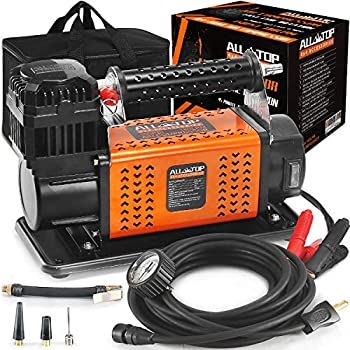 ALL-TOP Heavy Duty Portable 12V Air Compressor Kit Inflate 180L  6.35Ft³ /Min Max 150PSI Metal Heat Dissipation ensures Duty Job for Pros Includes a 1680D Rugged Carry Bag for 4x4 Vehicle