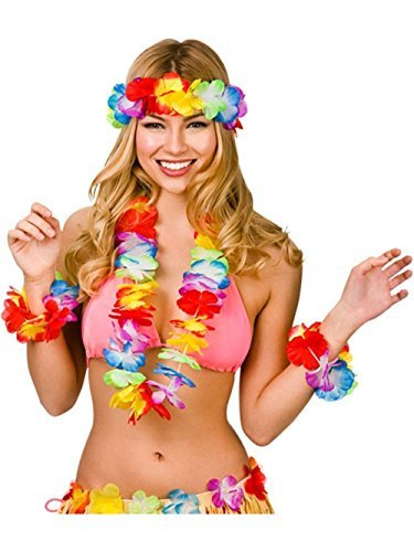 Ungfu Mall 4PCS Hawaiian Leis Headband Bracelets Garland Beach Party Tropical Party Hen Night Fancy Dress Anklet Hula Mixed Color Flower Leaves Petal Head Neck Wrist Decorations For Partys