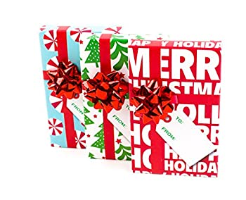 Hallmark Christmas Gift Card Holders with Bows and Gift Tags  Pack of 3  Trees Peppermints Happy Holidays  Red Bow - 5BCM1072