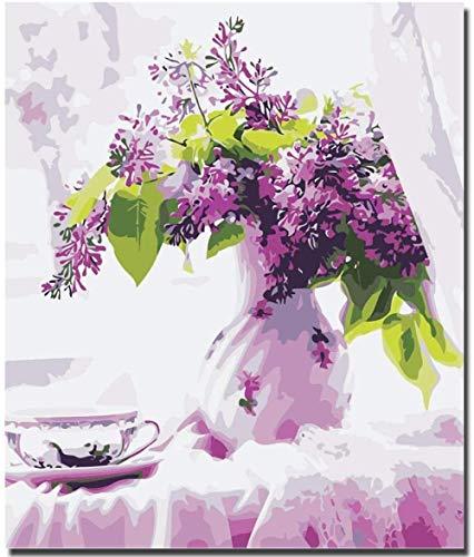 Jkykpp Blooming Purple Flowers DIY Digital Paintingkleurige digitale schilderijen Home Decor buitenschilderij 40 x 50 cm (16 x 20 inch)