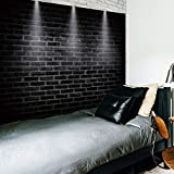 Riyidecor Black Brick Tapestry 80x60 Inch Brick White Stage Lighting Simple Vintage Shabby Chic Tapestry Cool Industrial Modern Fashion Wall Hanging Indigenous Bedroom Living Room