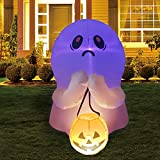 GOOSH 4 FT Halloween Inflatable Outdoor Colorful Dimming Ghost Holding Pumpkin, Blow Up Yard Decoration Clearance with LED Lights Built-in for Holiday/Party/Yard/Garden