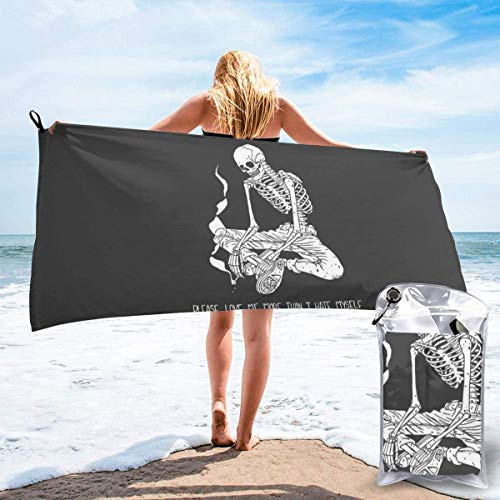 shenguang Sand Free Beach Towels, Microfiber Portable Compact Bath Towels, Skeleton Quick Dry Super Lightweight Towel Blanket with A Carrying Bag