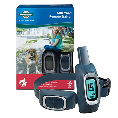 PetSafe 600 Yard Remote Training Collar – Choose from Tone, Vibration, or 15 Levels of Static Stimulation – Medium Range Option for Training Off Leash Dogs – Waterproof and Durable – Rechargeable
