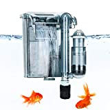 AQQA Aquariums Power Filter 5-10 Gallon,2W External Hang On Fish Tank Sponge Filter with Surface Skimmer,Adjustable Flowrate 3-Step Filtration Cascade for Freshwater Saltwater Fish Tank(A-Set)