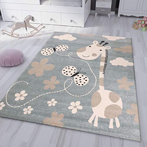VIMODA Kinderteppiche Giraffe mit Schmetterling und Blumen | Kinderteppich für Mädchen und Jungs | Teppich für Kinderzimmer Blau | Schadstofffrei Kinderzimmerteppiche (Öko-Tex), Maße:120x170 cm
