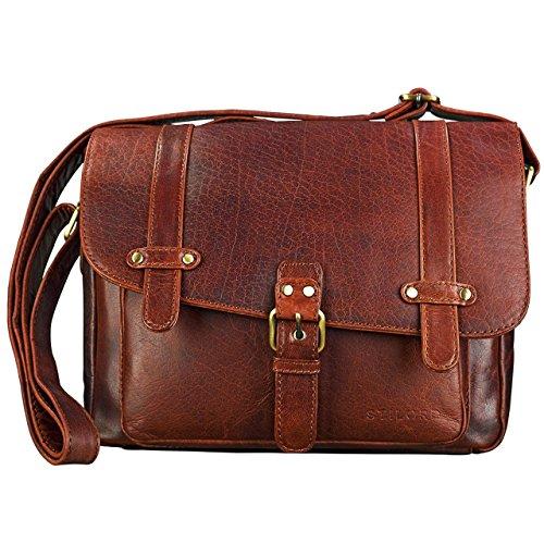 STILORD 'Lara' borsa donna a tracolla vintage in vera pelle formato piccolo Borsetta a bauletto da ragazza marrone per iPad Tablet da 10.1 pollici Cartella in cuoio, Colore:siena - marrone