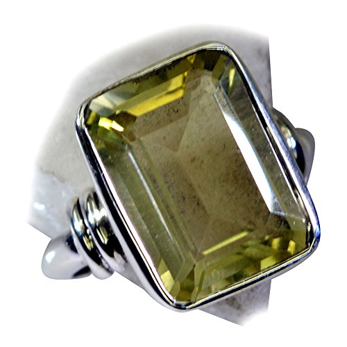 55Carat Real Lemon Quartz Crystal Sterling Silver Ring Bezel Style Emerald Cut Handmade Size 5,6,7,8,9,10,11,12