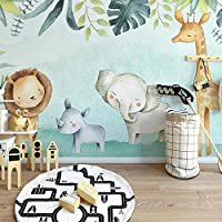 3Dかわいい象ライオン壁画壁紙男の子寝室幼稚園子供部屋動物をテーマにした装飾ポスター壁画-200x140cm