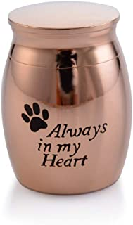 Sunling Small Rose Gold Plated Waterproof Stainless Steel Decorative Memorial Keepsake Cremation Urns Jar for Human Pet Ashes Funeral Bottle Holder for Grandma,Grandpa,Always with Me