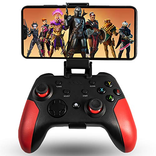 Maegoo Controller per Android PC PS3, Controller Android Game Mobile Wireless Bluetooth con Staffa Retrattile, 2.4G Wireless Gamepad Joystick PC PS3 TV con Doppia Vibrazione