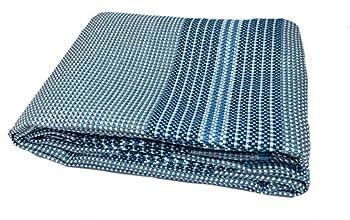 Moritz Premium Tapis pour auvent 250 x 600 cm, bleu métallique, fils traversants blancs, tapis de camping, tapis de tente, tapis de sol pour caravane, camping-car