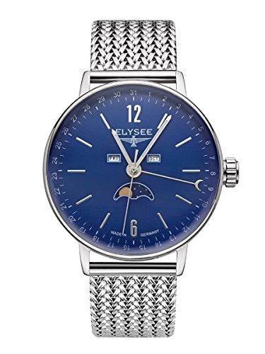 sithon Moon–Reloj de Hombre Milanaise Banda, Esfera Azul y Luna Pantalla