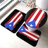 Taroot AA Puerto Rico Flag Peace Sign Comfort Flannel Bathroom Rug Mats Set 3 Piezas Soft MAT-1289