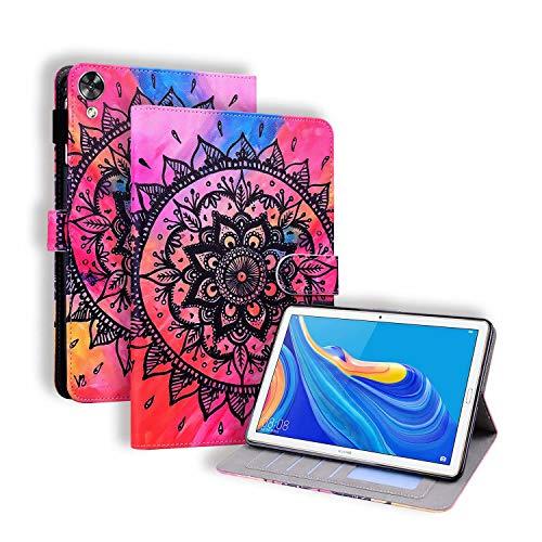 Miagon Hülle für Huawei MediaPad M6 10.8 Zoll,Pu Leder Schutzhülle Case Cover mit Kartensteckplatz Ständer Funktion,Mandala Blume