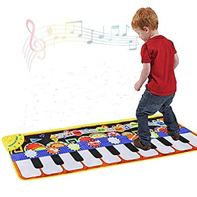Cyiecw Piano Music Mat, Keyboard Play Mat Music Dance Mat with 19 Keys Piano Mat, 8 Selectable Musical Instruments Build-in Speaker & Recording Function for Kids Girls Boys, 43.3'' x14.2''