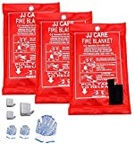 JJ CARE Fire Blanket Fire Suppression Blanket, 40'x40' +3 Hooks & 3 Gloves, Fire Blanket...