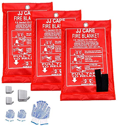 JJ Care Fire Blanket Pack of 3 Fire Fighting Suppression Blankets Fiberglass Cloth (40